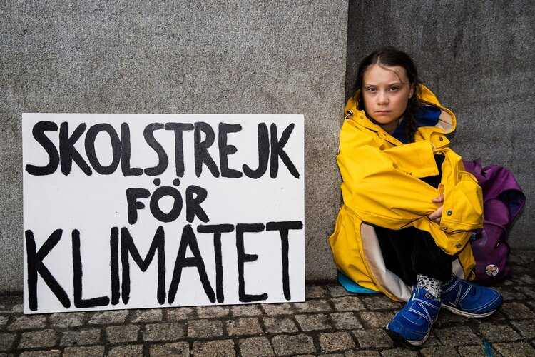 Greta Thunberg sitting outside Swedish parliament as part of her School Strike for Climate.