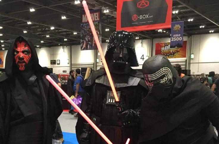 Darth Vader, Kylo Ren and Darth Maul at the MCM London Comic Con