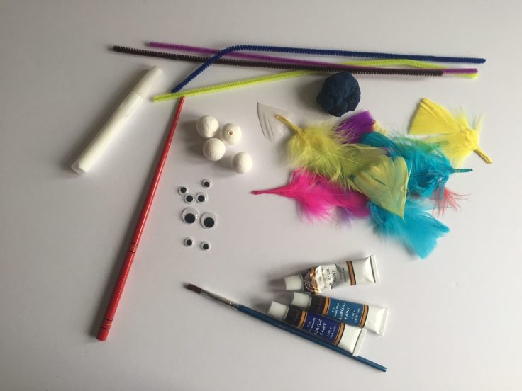 Feathered bird crafts for kids - items you will need to make these Feathered friends.