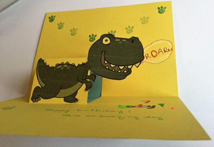 How to make a pop up card Model 1 - How to make a pop up card: Dinosaur birthday card