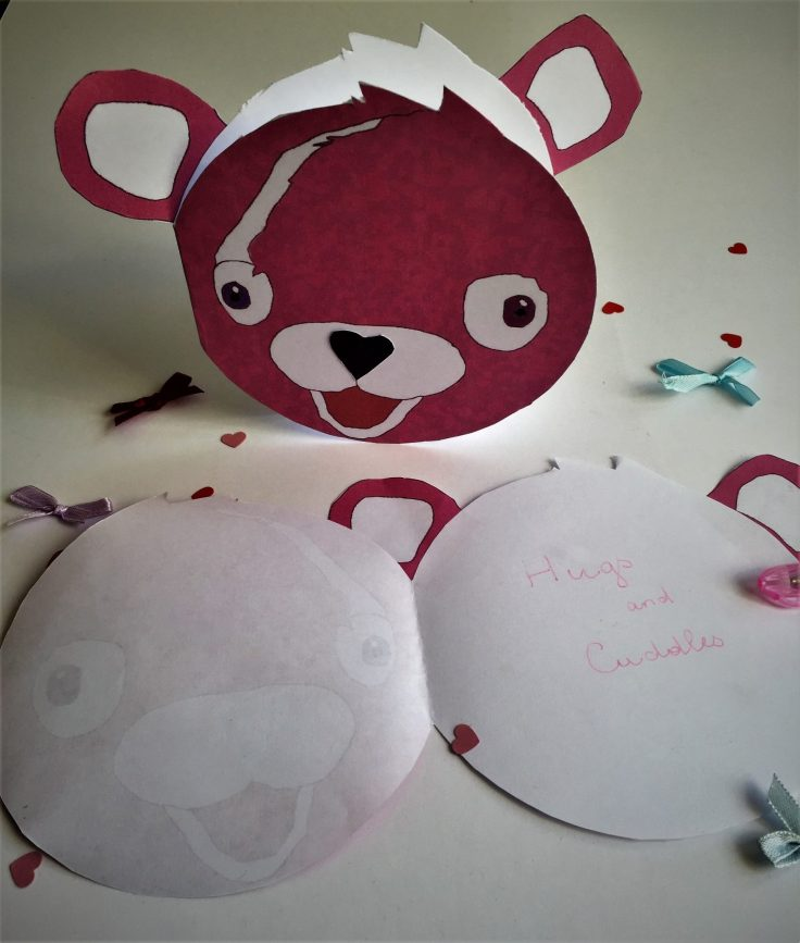Cuddle Team Leader Valentines card for kids - writting a message