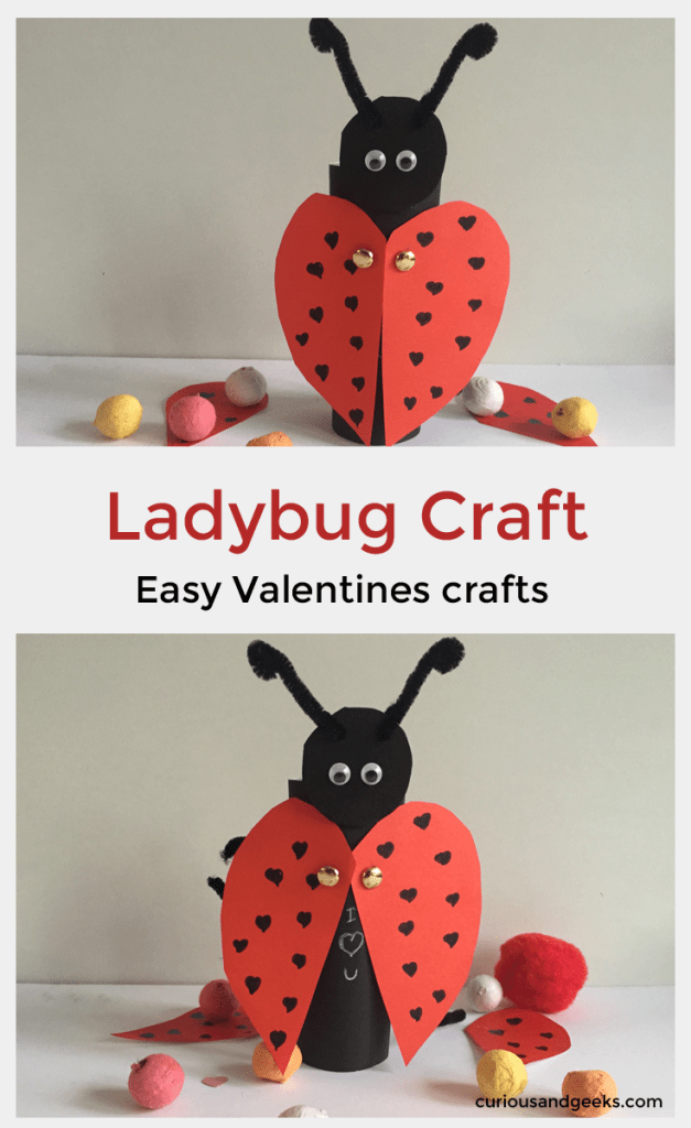 Adorable Ladybug craft for kids. This craft is perfect as a Valentine activity with kids
