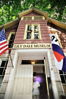 Dorothy with her husband's orb, Lily Dale Museum, 2001.