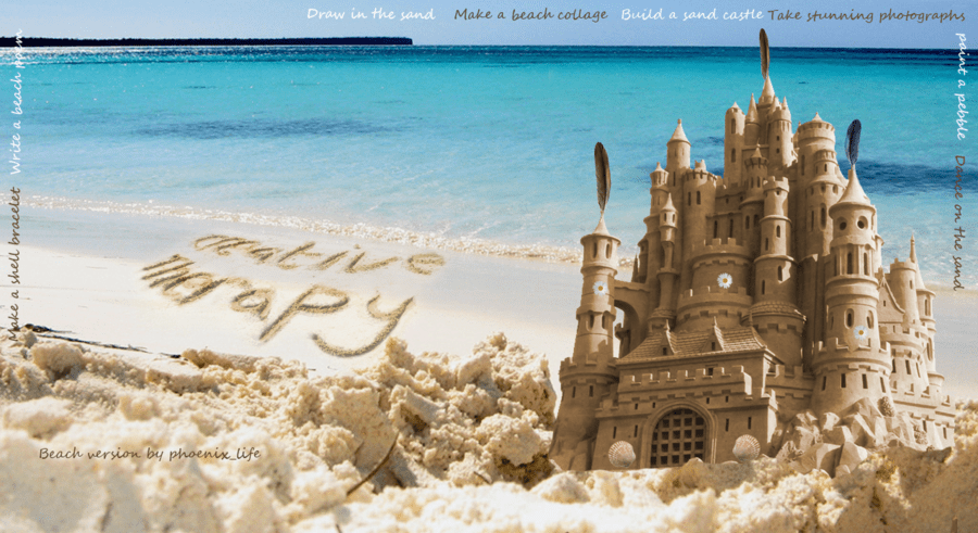 sandcastle and sand writing