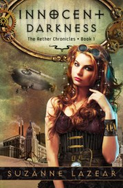 book cover for Innocent Darkness featuring red-headed steampunk girl