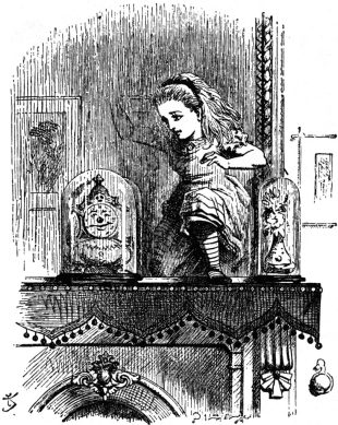 Illustration of Alice entering looking-glass land through the mirror, by John Tenniel.