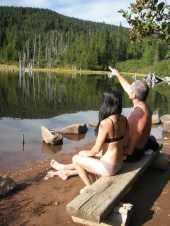 Sunbathing at Rainy Lake