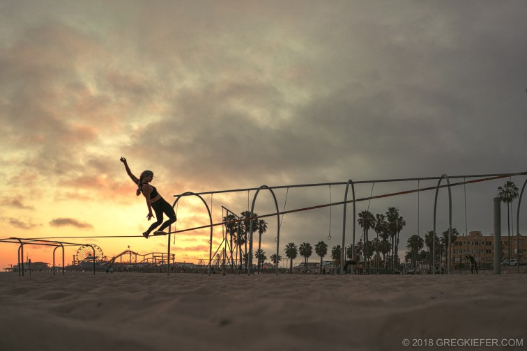 Rebecca Whitney on slackline on Muscle Beach