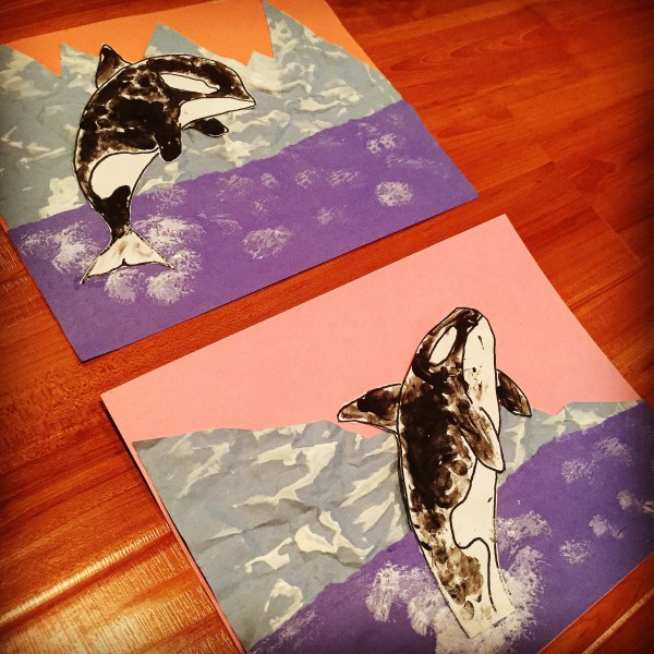 Finger Painting Orcas And Crumpled Paper Art