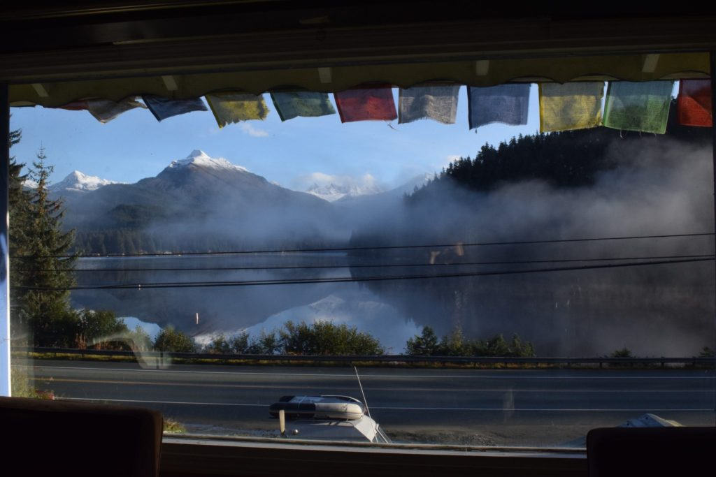 Image of Auke Lake in Juneau, Alaska from the window of where I stayed
