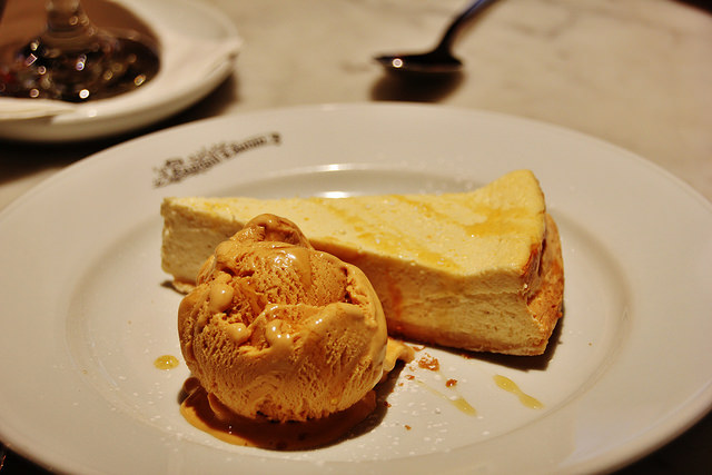 Baked vanilla cheesecake with salted caramel ice cream.