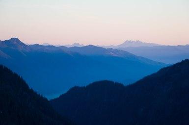 Rolling hills at dusk
