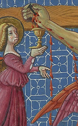 detail from Angels collecting Christ's Blood in chalices, by Fiorenzo di Lorenzo, after 1472