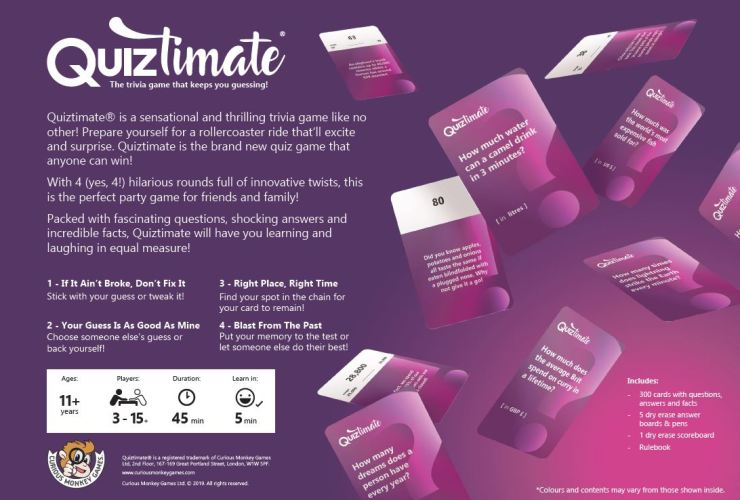 Quiztimate - The trivia game that keeps you guessing! - Box Back