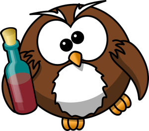 owl with wine