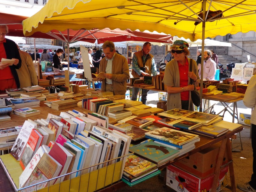 Old Town Nice France market, books