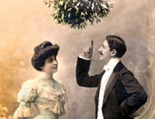 Couple under mistletoe