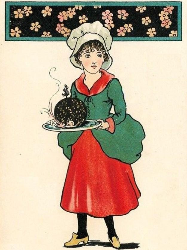 Christmas Pudding vintage postcard