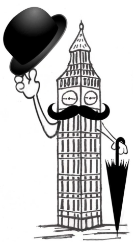 Big Ben w hat & brollie