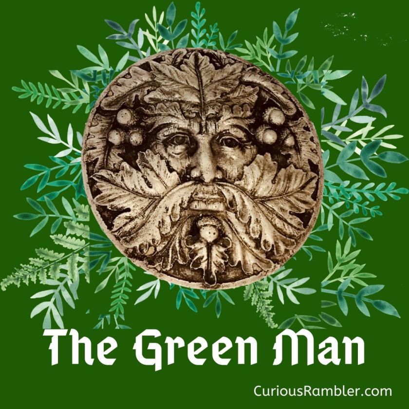 Green Man image with oak leaves and acorns.