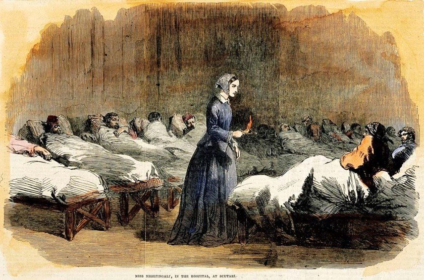 Print of Florence Nightingale in Scutari Hospital