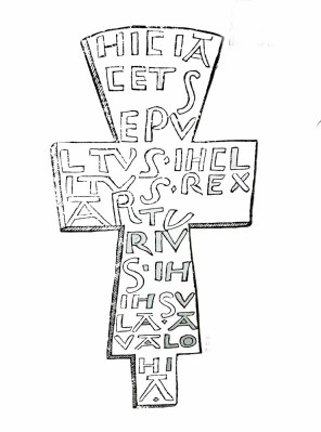 A drawing of the cross found on King Arthur's tomb.