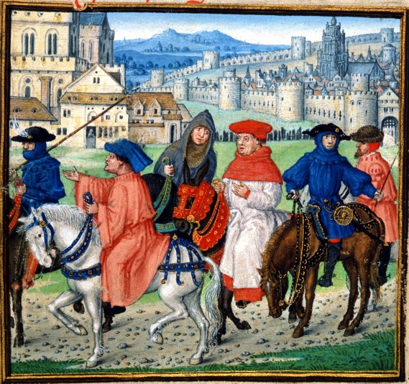 Images of Canterbury pilgrims on horses with city in background.