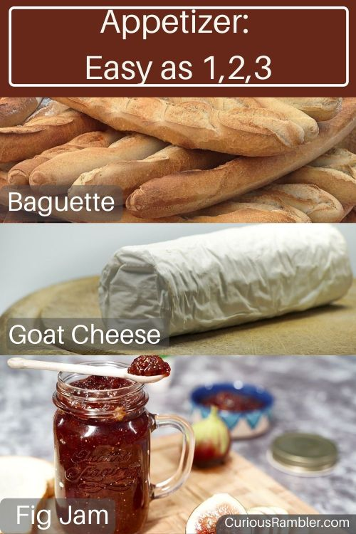 Appetizer or Aperitif made with baguette, goat cheese, and fig jam