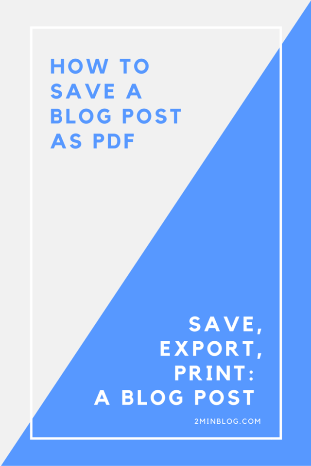 SAVE BLOG POST AS PDF