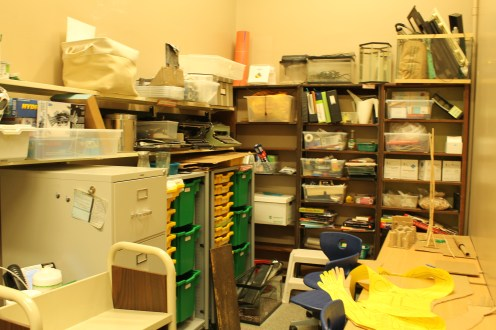 The student work and storage area at the back of the office