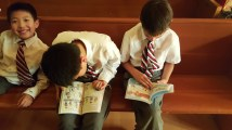 The boys were keen to start reading their copies of Sunny Side Up.