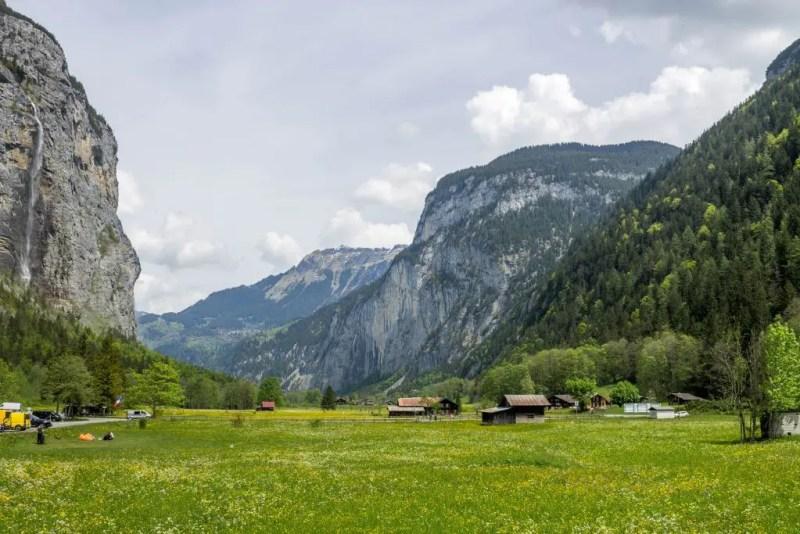 Meadow and waterfall in Lauterbrunnen Valley, Switzerland