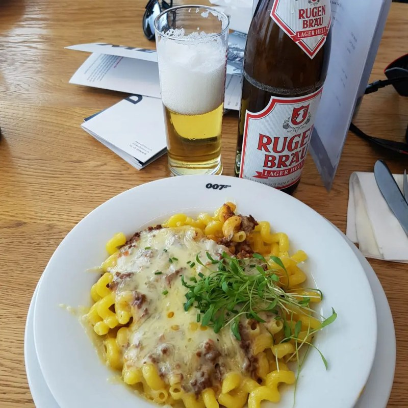 Noodle dish and beer at Piz Gloria, Schilthorn