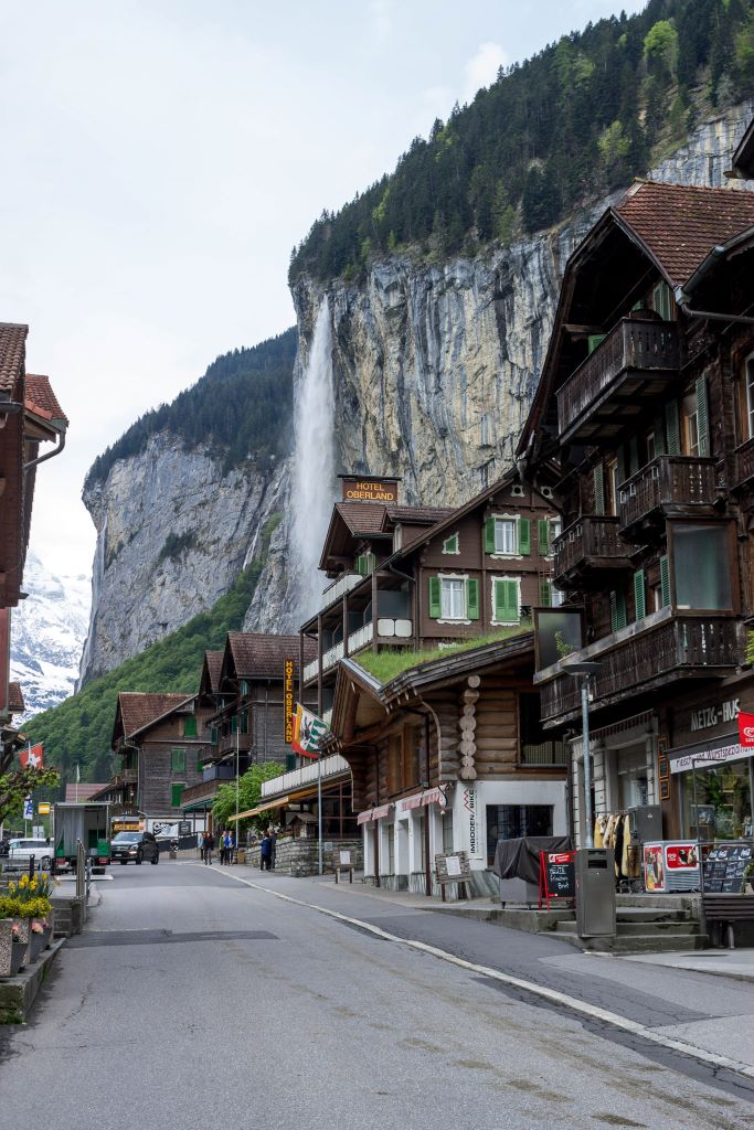 Lauterbrunnen village with Staubbach waterfall in the background