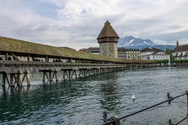 Covered bridge. Chapel bridge in Lucerne