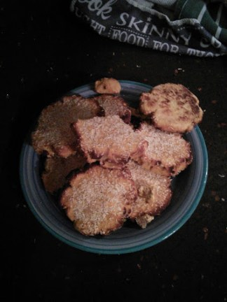 Sunday 07-02-16. An attempt at some coconut biscuits using coconut flour for the first time. Complete disaster. Coconut flour sucks all the moisture from everything. Quite remarkable, you certainly cant just do a straight substitution with this flour.