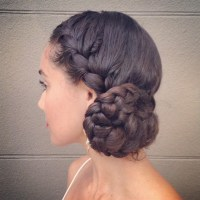 braided bun on long hair