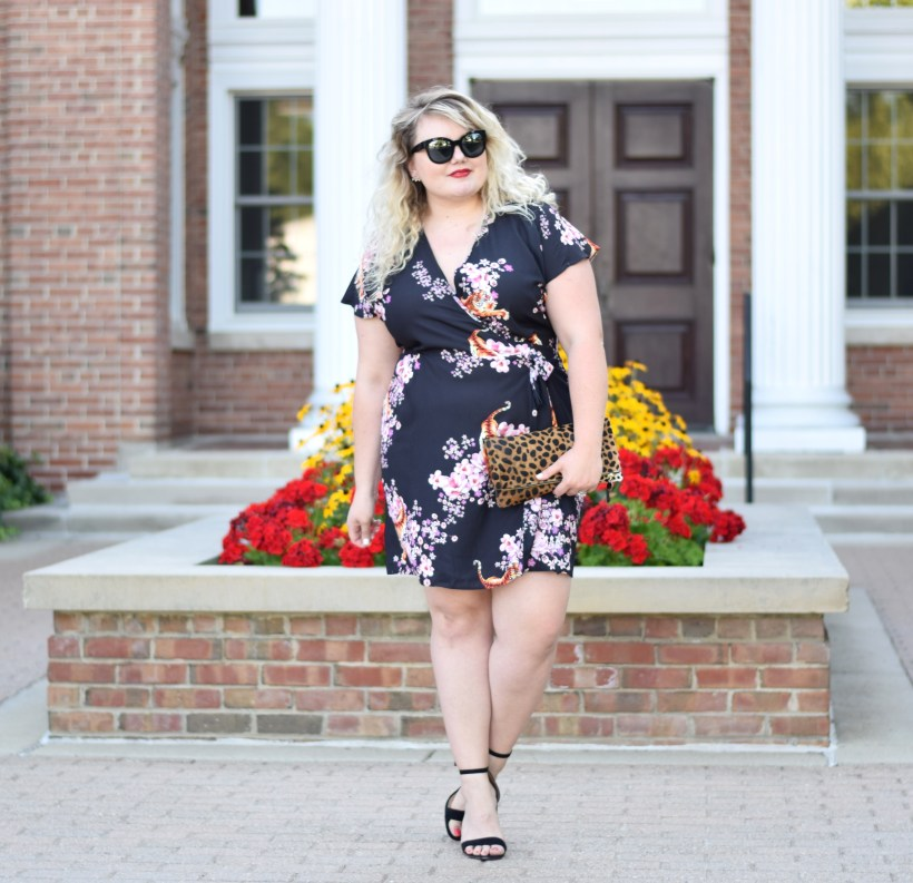 Yours Clothing dress review and how to find the correct size when ordering. Plus Size Wrap Mini Dress with Tigers and Cherry Blossom print.