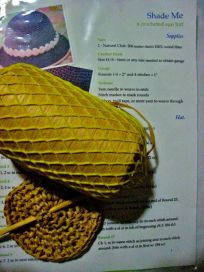 """start of new summer hat, made with wood/paper """"yarn"""" - not fun to crochet!"""