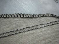 front & back serged edges of a scrap
