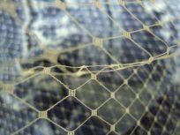 ecru russian netting with blue silk scarf