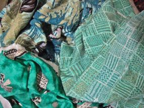 don't often wear teal, but like it - top left is raw silk print, middle right challis gifted to friend Karen, and bottom left is rayon... spring is coming!