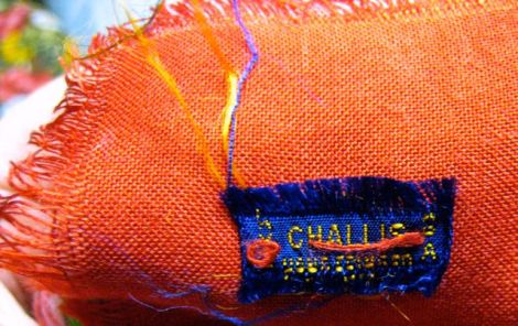 fringed wool challis scarf & frayed label; at least 50 yrs old