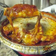 delivered meat lasagna ~ photo for Ali, who always has lucious food pics