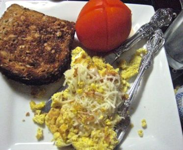 have a thing for eggs scrambled with spicy mustard - yummy!