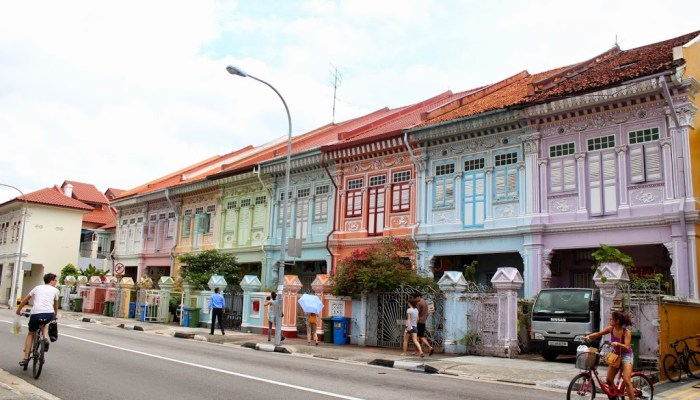 Joo Chiatt. Heritage shophouses and contemporary murals.