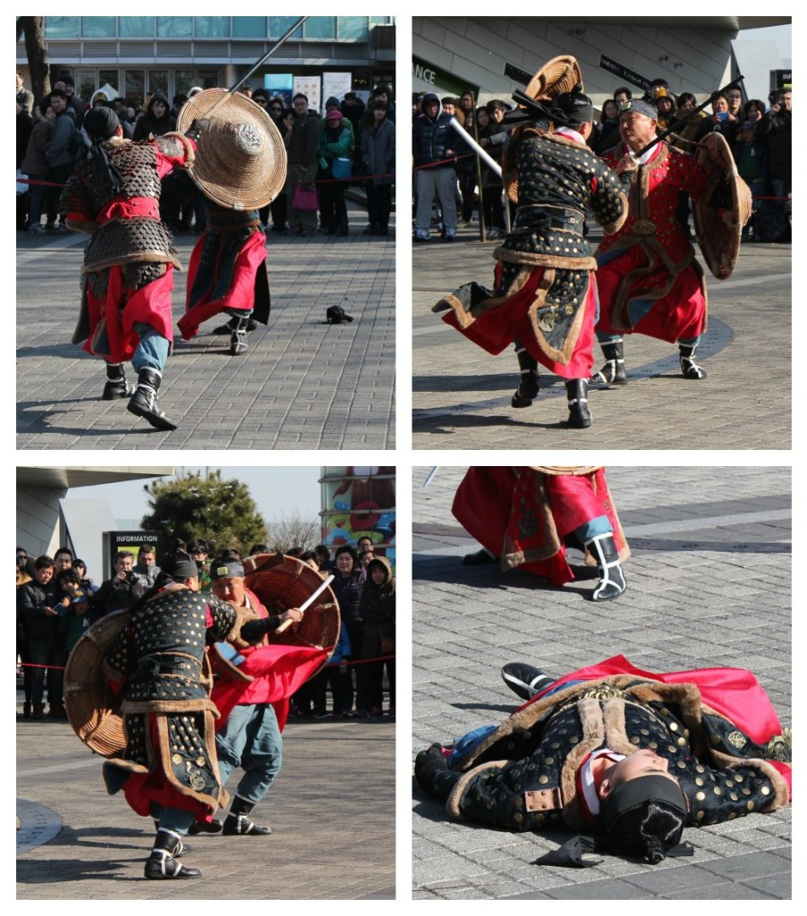 Korean martial arts fighters at Seoul's N Tower| curlytraveller.com