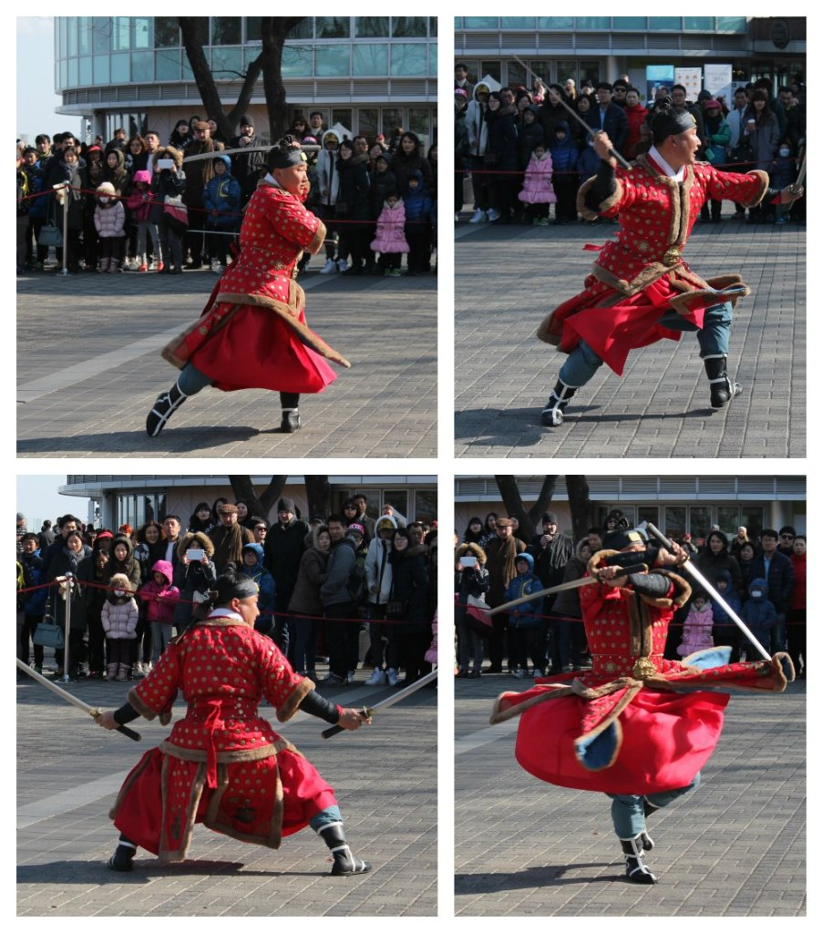 Korean martial arts fighter at Namsan Tower in Seoul| curlytraveller.com