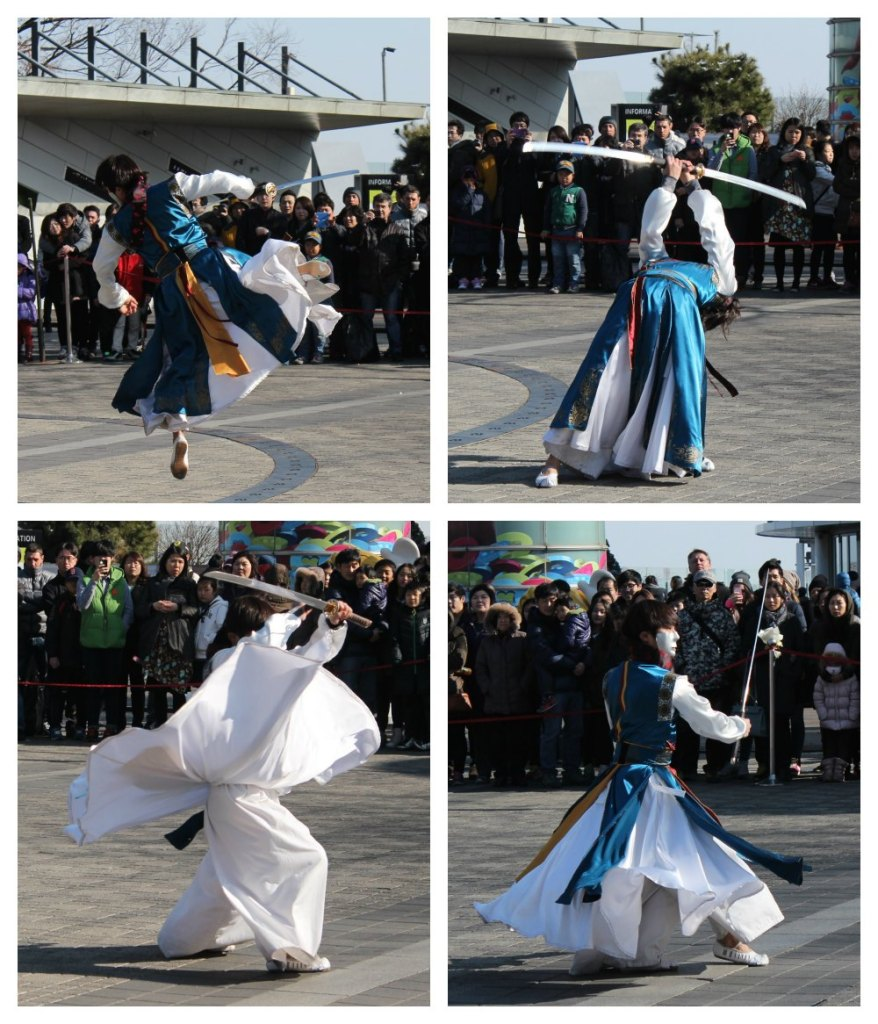 Korean martial arts fighter with swords| curlytraveller.com