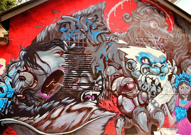 red, blue and grey mural substation singapore